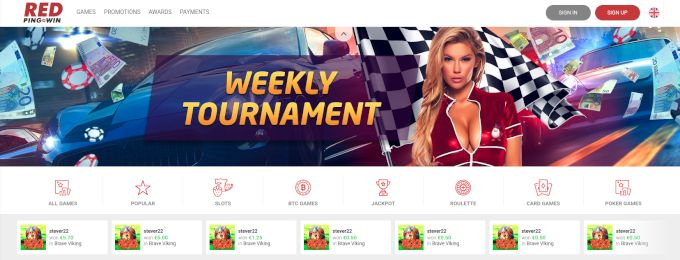 Red Pingwin Casino home page